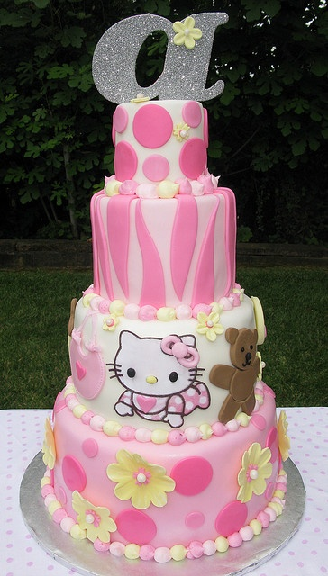 Pink Zebra Print Hello Kitty Baby Shower Cake