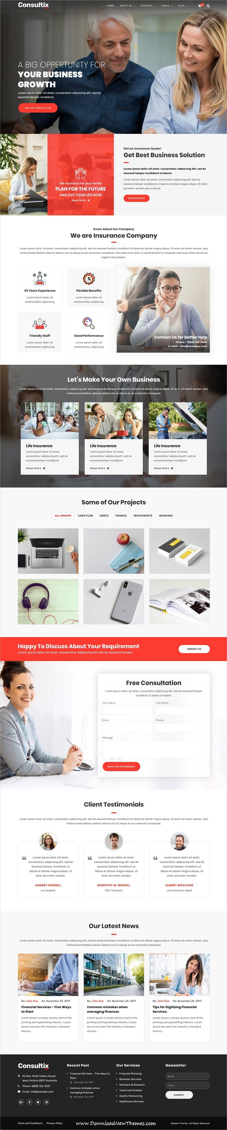 Consultix is clean and modern design responsive #WordPress #template for professional corporate business and financial services website with 14 niche homepage layouts to live preview & download click on image or Visit #webdeveloper
