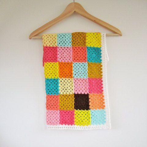 Granny Square Baby Blanket Color Bomb Small Crochet