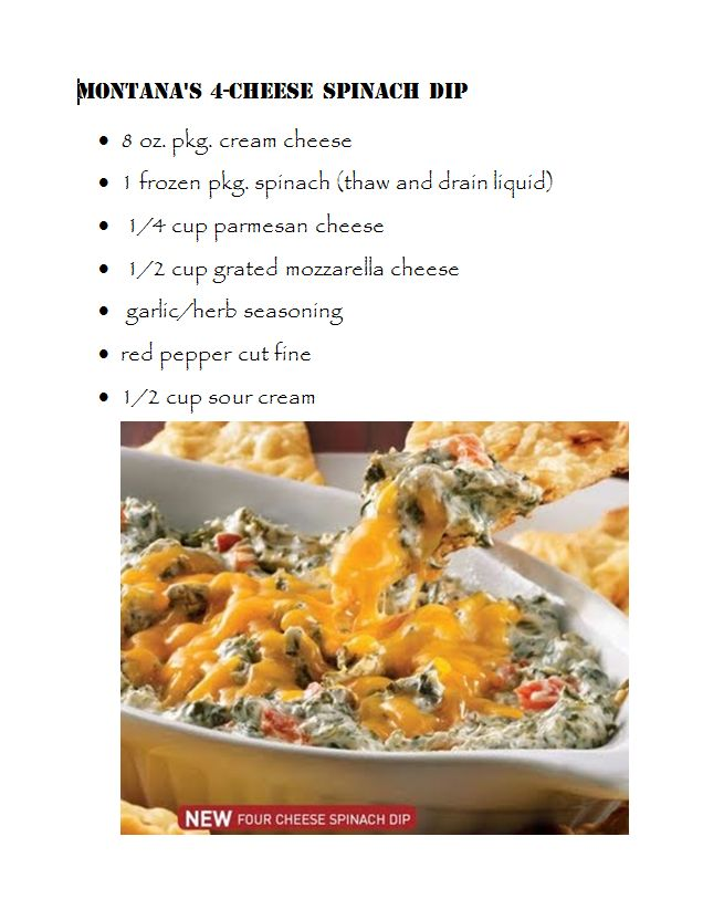 Montana's 4 cheese spinach dip! This was Leo's favourite spin dip, I'll have to try to replicate it...