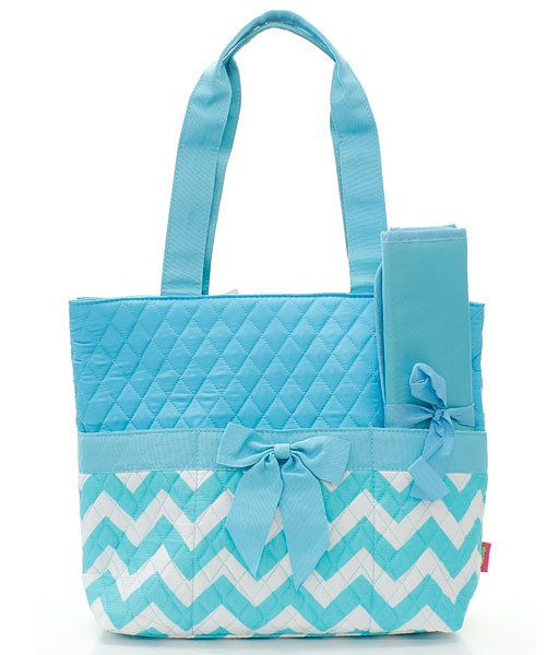 light blue/Aqua chevron Diaper bag by sewsassybootique on Etsy, $29.95