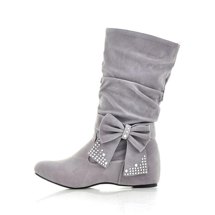 2013 Fall New Pure Color Rhinestones Bowknot Women's Flat Boots Plus size 10724794 - Boots - Dresswe.Com