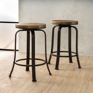 shop for skyla natural wood roating counter stool set of 2 by christopher knight - Rustic Furniture Outlet