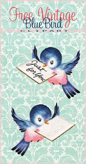 Free Vintage Bluebird Clip Art for Shabby Blogs By FPTFY web ex by Free Pretty Things For You!, via Flickr