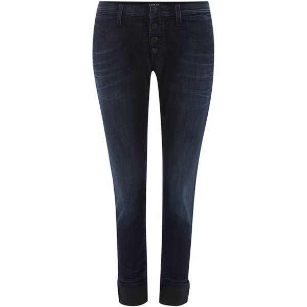 Replay Mijovi boyfit jeans ($160) ❤ liked on Polyvore featuring jeans, denim, sale, replay jeans, blue jeans, 5 pocket jeans, dark wash jeans and mid rise jeans