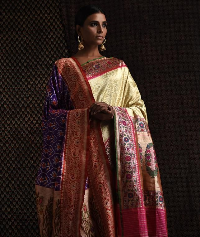 26a94cb333213 Buy A Woven Heritage Royal Brocade Exquisite ashavali patola silk sarees  and dupattas with zari work Online at Jaypore.com