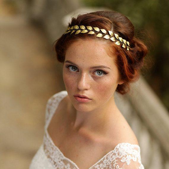 Blattgold-Stirnband Gold Braut Haar Rebe von AnnAccessoriesStudio
