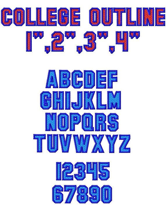 College Outline Machine Embroidery Font - Sizes 1