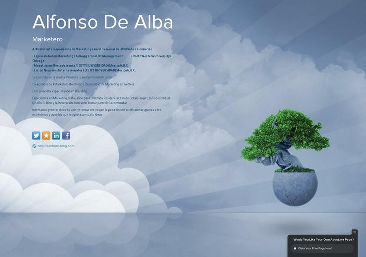 Alfonso  De Alba's page on about.me – http://about.me/santinosmktblog