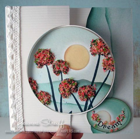 @Flower Soft products: Summer Flower Soft, Silhouettes Stamps Trees & Flowers, Silhouette Stamps Wishes & Vines  @Sizzix :655268 Sizzix Big Shot,  587586 Sizzix Movers & Shapers Flip-its Circle  Papers: www.discountcardstock.com  Ink: @Clearsnap Premium Die inks (Licorice, Chocolate)  @Jeanne Streiff