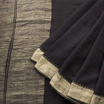 Handspun and Handwoven Khadi Cotton Sari available in Black, Gold Colour Zari
