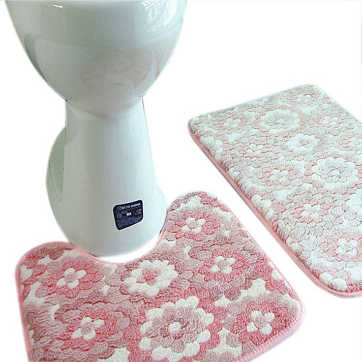 2 Pieces/set 45*50+50*80cm Thickened Bath & Pedestal Mat Soft Luxuary Coral Mat Toilet Non Slip Floor Mats Rugs H5060 #Affiliate