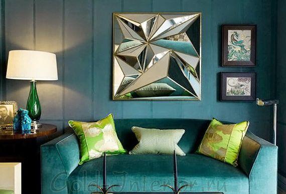 Бирюзовый диван и подушки цвета лайма