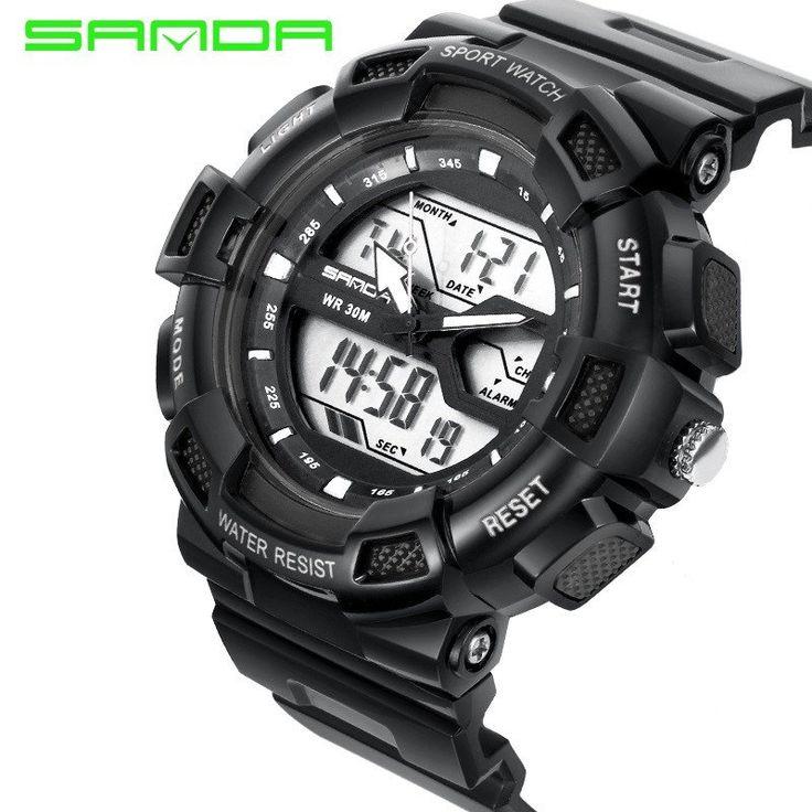SANDA Waterproof Digital LED Military Dual Display Men's Fashion Watch