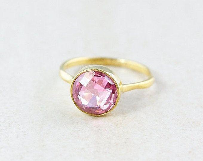 Gold Pink Quartz Ring - Gemstone Ring - Stacking Ring, Brilliant Round Cut