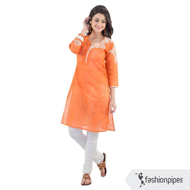 #Tangerine #Kurti with stylish neck  Order yours now: http://www.fashionpiper.com/women/indian-wear/kurti/tangy-tangerine-kurta-1562.html