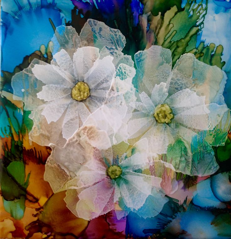 Alcohol Ink On Tile By Lin Crocco. Frosted Flowers