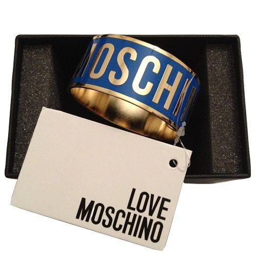 Image of ON SUPER SALE AUTHENTIC LOVE MOSCHINO WOMEN'S LOGO BRACELET - BLUE