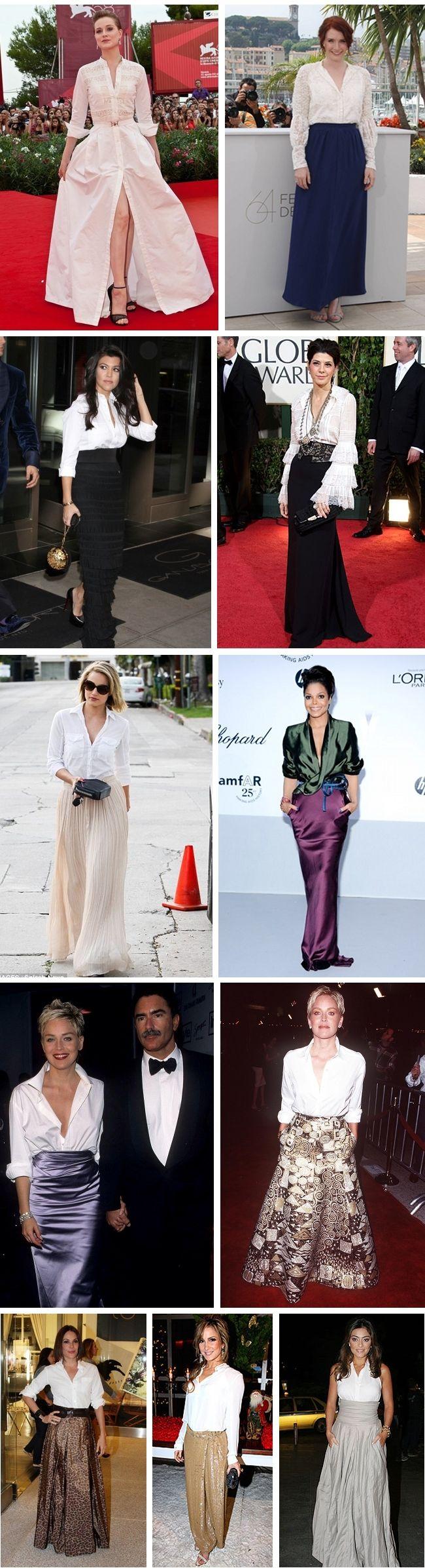 Inspiração de looks para festa com saia longa e camisa feminina