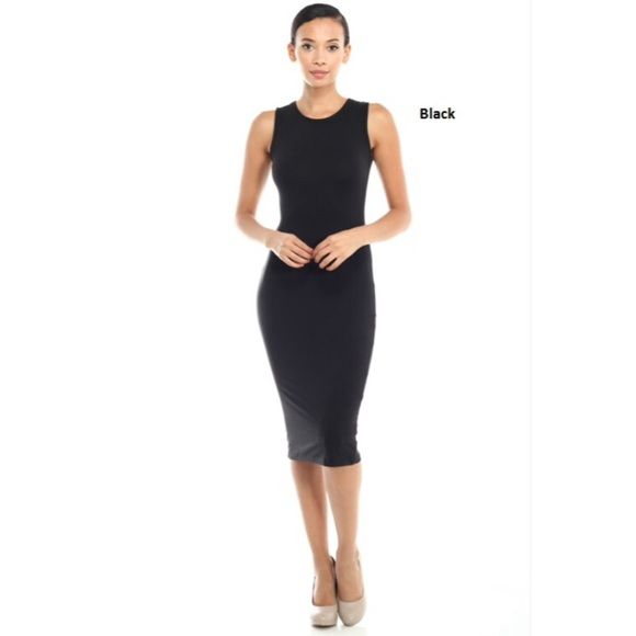 Black Sleeveless Bodycon Style Midi Dress ❗️Lowest Price Unless Bundled❗  *NWT Retail *Round neck *Sleeveless *Slim fit throughout *Midi length *Polyester/spandex *Available black OR royal blue size S, M, L   *NO TRADE/HOLD  *YES BUNDLES Create your own no hassle bundle15% Off❗️  *PLEASE ASK QUESTIONS & READ DESCRIPTIONS❗️Measurements and sizing recommendations are for guidance purposes only. I cannot speak for every body type. Please understand that buying online does have some risk❗️…