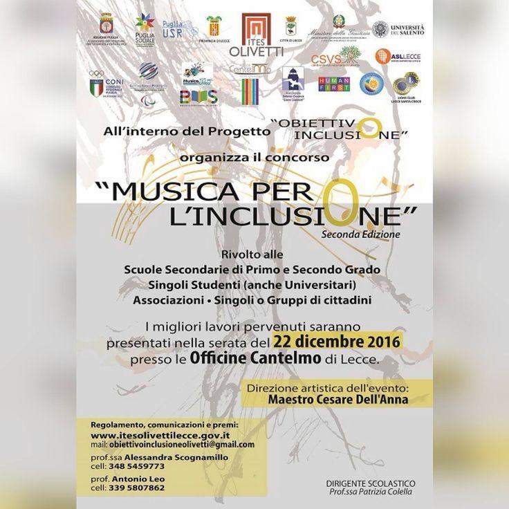 """Siamo lieti di partecipare al Concerto Natalizio organizzato dall'Ites Olivetti """"Musica per l'Inclusione"""" che si terrà questa sera alle ore 19.00 presso le Officine Cantelmo. Il concerto fa parte della II edizione del progetto Obiettivo Inclusione: la scuola ha intrapreso un percorso tematico sull'inclusione, che prevede la realizzazione di un percorso in più fasi e l'organizzazione di eventi, tra scuola, territorio, enti ed associazioni. Siete tutti invitati! :) #WIP4SCHOOL #WIP4EU"""