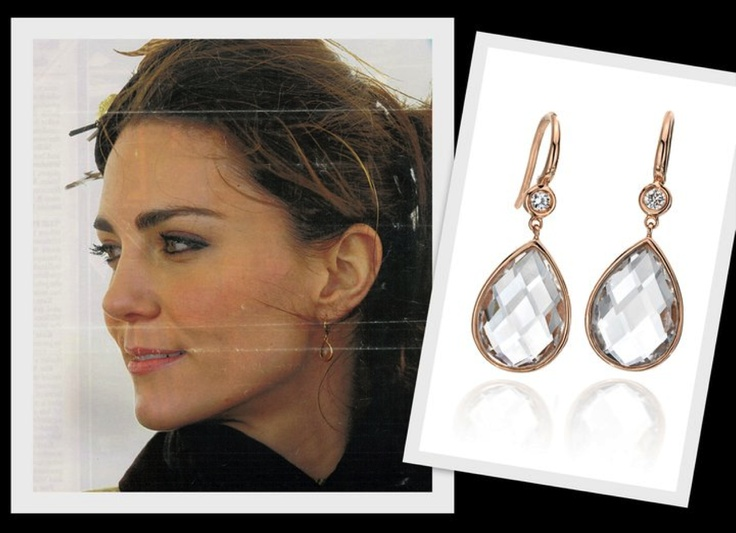 The Duchess of Cambridge Kate Middleton showing her exquisite taste in jewelry with her Ivanka Trump Fine Jewelry Mixed Cut Rose Gold Drop Earrings.