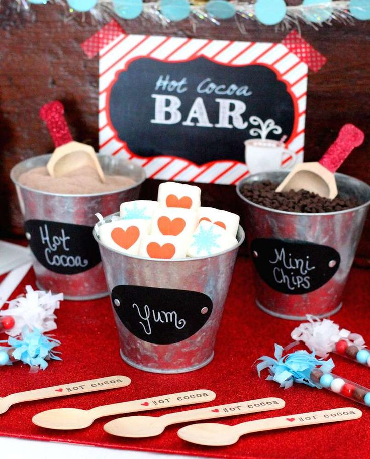 Yummy toppings at a hot cocoa winter party! See more party planning ideas at CatchMyParty.com!