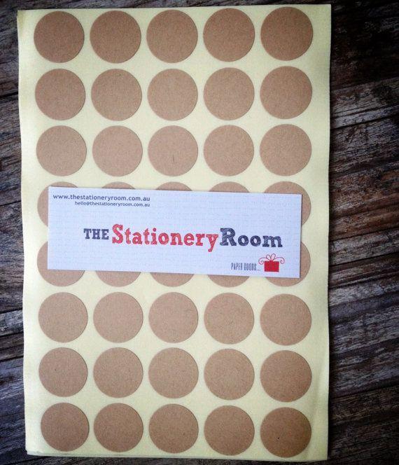 Mini Kraft Paper Stickers - 2.0cm round Label Sticker Seals - 200 Blanks per set