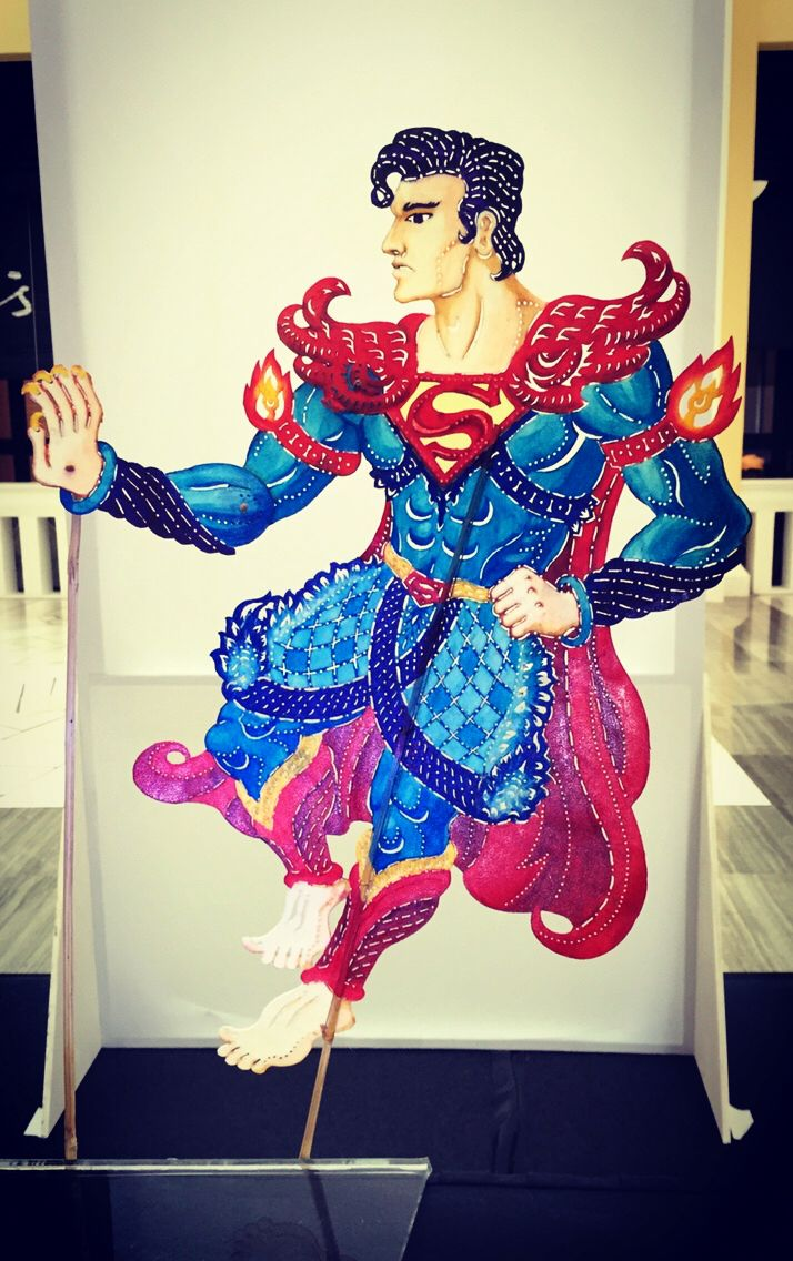 Fusion fan art. Superman as wayang kulit puppet.