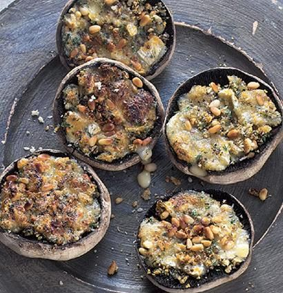 Camembert, pine nut and herb stuffed mushrooms