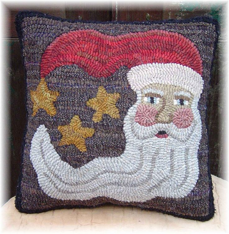 free rug hooking patterns | ... Santa Christmas Pillow Hooked Rug Hooking  PAPER Pattern