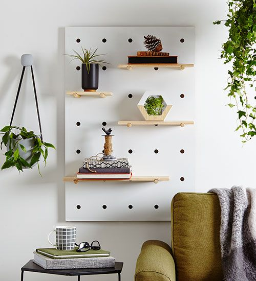 I love the Kmart pegboard. Here it is used to create a vertical indoor garden. Kmart Australia Styling