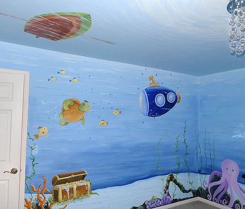 Underwater mural for baby room recent photos the commons for Underwater mural ideas