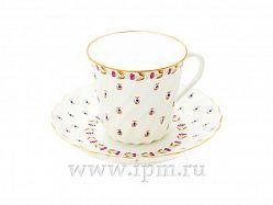 Чашка с блюдцем кофейная витая голубые ягодки ЛФЗ