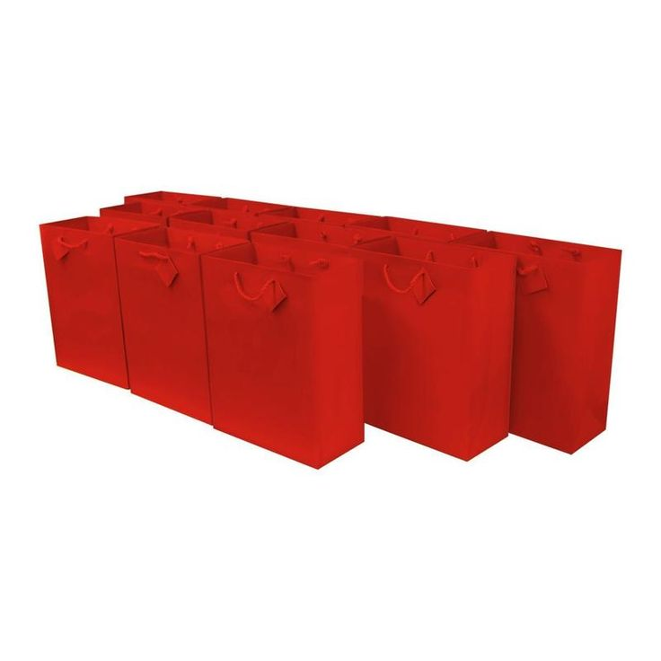 "Medium Red Paper Gift Bags Party Favor Bags In Bulk - 7.5""W X 9""H X 3.5""D - 120 Pcs."