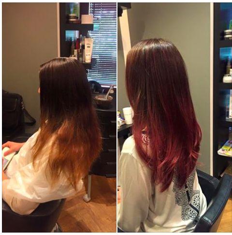 Czerwone sombre hair