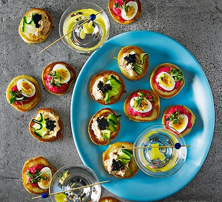 These dainty little Eastern European pancakes have a distinctive flavour and are party perfect. Finish with two toppings - beetroot and quail's egg, and smoked salmon pâté - for a creative canapé