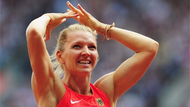 Lilli Schwarzkopf of Germany celebrates after competing in the Women's Heptathlon 100m Hurdles