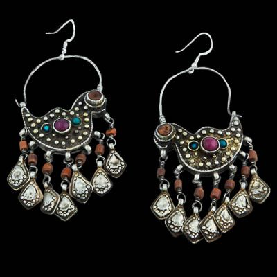 Tajikistan/Uzbekistan | Gilded Silver Coral Turquoise and Glass Bird Earrings | Circa Early 20th Century | Hooks (new) 925 Silver. | 320£
