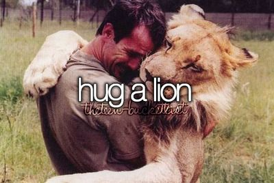 THIS GIRL HAS THE SAME THING! Not just *pet a lion or *see a lion! It's HUG a lion!