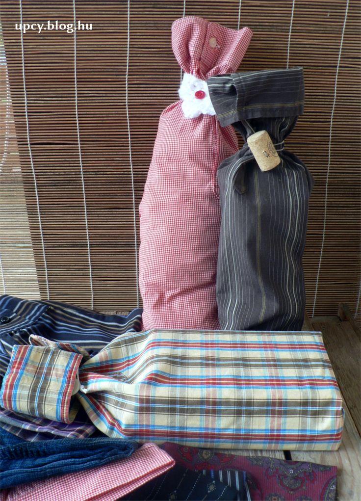 Ing továbbhasznosítás - ajándéktasak, bortartó. Shirt upcycling - wine bag, gift wrap.