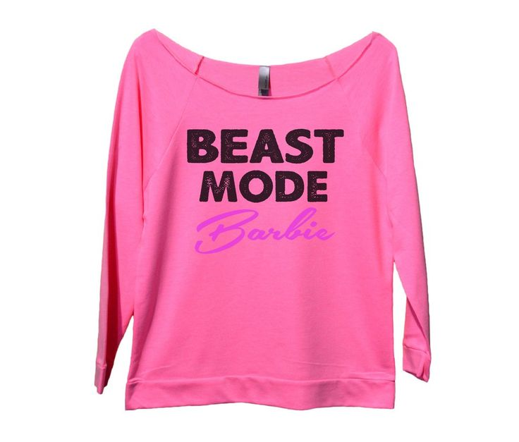 Beast Mode Barbie Womens 3/4 Long Sleeve Vintage Raw Edge Shirt