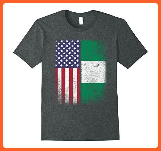 Mens American Nigerian Flag T-shirt Nigeria African Igbo Yoruba Large Dark Heather - Cities countries flags shirts (*Partner-Link)