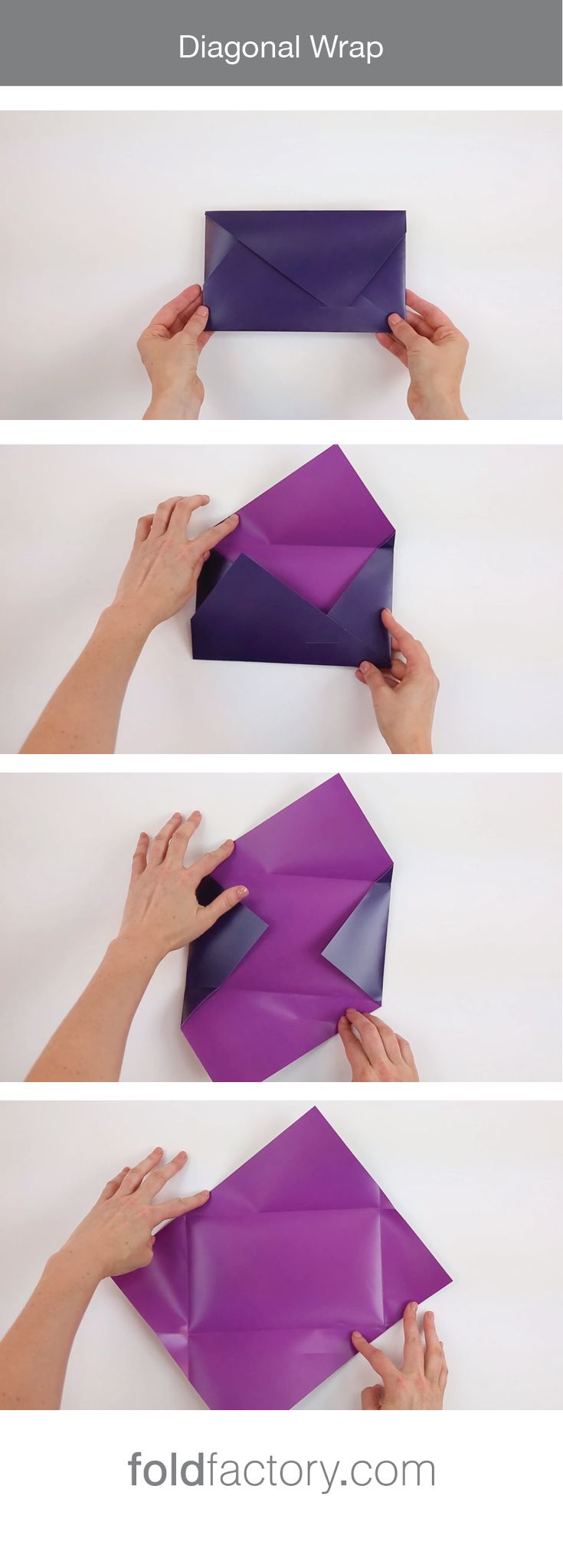 The Diagonal Wrap uses angled folds for a dramatic opening effect and…