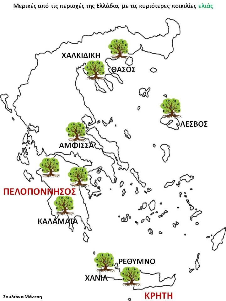 Μερικές από τις περιοχές της Ελλάδας με τις κυριότερες ποικιλίες ελιάς