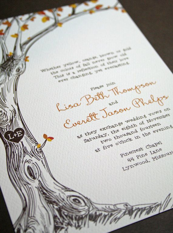 Sketched Tree - Fall Wedding Invitation with Carved Initals - Sample