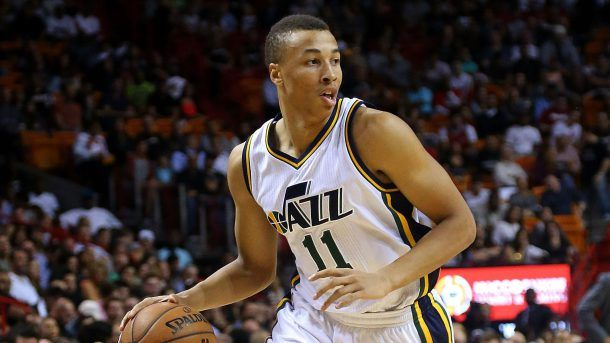 MIAMI, FL - DECEMBER 17:  Dante Exum #11 of the Utah Jazz drives to the lane during a game against the Miami Heat at American Airlines Arena on December 17, 2014 in Miami, Florida. NOTE TO USER: User expressly acknowledges and agrees that, by downloading and/or using this photograph, user is consenting to the terms and conditions of the Getty Images License Agreement. Mandatory copyright notice:  (Photo by Mike Ehrmann/Getty Images)