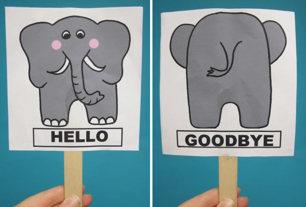 Cute craft for storytime: opposites, manners, hello/goodbye