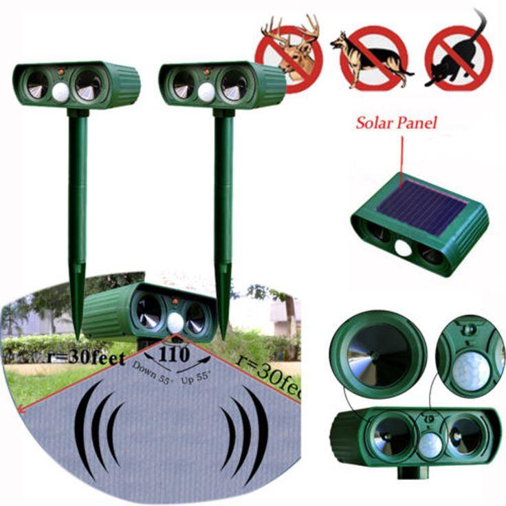 2 pcs/lote Solar Power ultrasons Repeller Pest Animal répulsif jardin chauve - souris chat chien renards(China (Mainland))