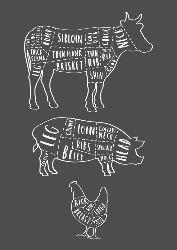 A3 Butcher Kitchen Print Butchers cuts by OldEnglishCo on Etsy
